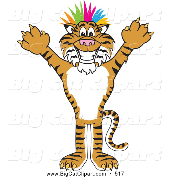 Big Cat Cartoon Vector Clipart of a Happy Tiger Character School Mascot Punk with Colorful Hair
