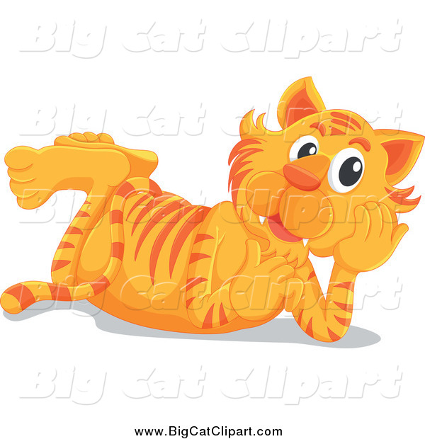 Big Cat Cartoon Vector Clipart of a Happy Tiger Resting on His Belly