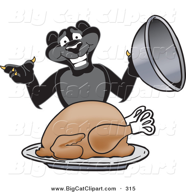 Big Cat Cartoon Vector Clipart of a Hungry Black Jaguar Mascot Character Serving a Turkey