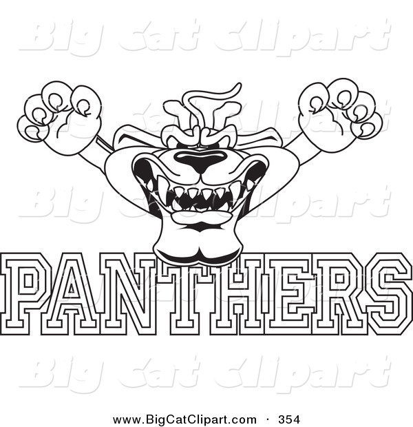 Big Cat Cartoon Vector Clipart of a Line Art Outline of a Panther Character Mascot with PANTHERS Text