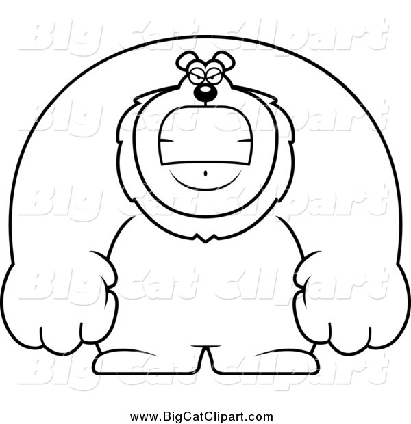 Big Cat Cartoon Vector Clipart of a Lineart Angry Buff Lion