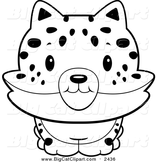Big Cat Cartoon Vector Clipart of a Lineart Baby Bobcat Smiling