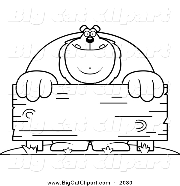 Big Cat Cartoon Vector Clipart of a Lineart Buff Lion Behind a Wooden Sign