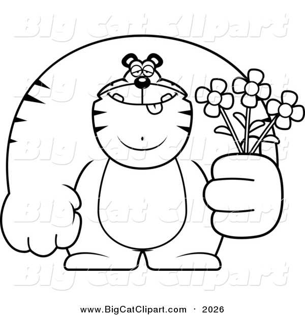 Big Cat Cartoon Vector Clipart of a Lineart Buff Tiger Holding Flowers