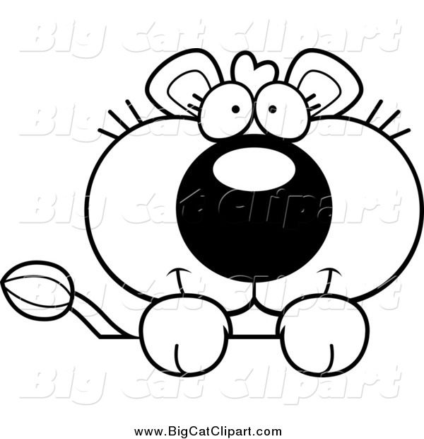 Big Cat Cartoon Vector Clipart of a Lineart Cute Lioness over a Surface
