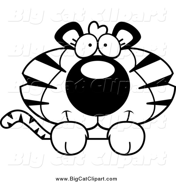 Big Cat Cartoon Vector Clipart of a Lineart Cute Tiger over a Surface