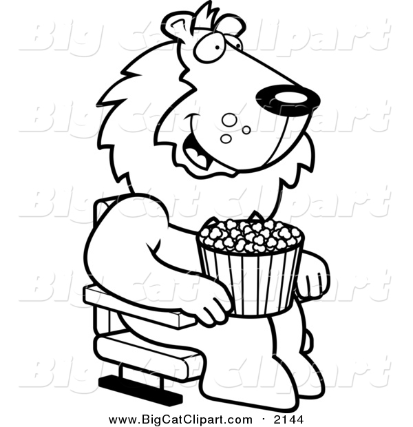 Big Cat Cartoon Vector Clipart of a Lineart Happy Lion with Popcorn at the Movie Theater