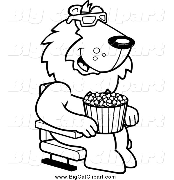 Big Cat Cartoon Vector Clipart of a Lineart Lion Eating Popcorn and Watching a 3d Movie at the Theater
