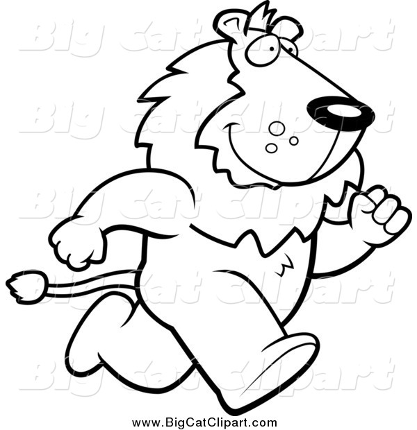 Big Cat Cartoon Vector Clipart of a Lineart Lion Running Upright on His Hind Legs