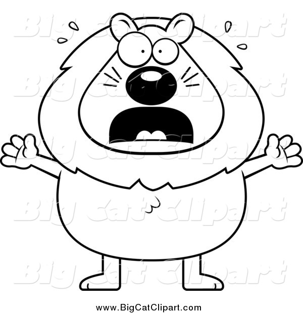 Big Cat Cartoon Vector Clipart of a Lineart Scared Lion