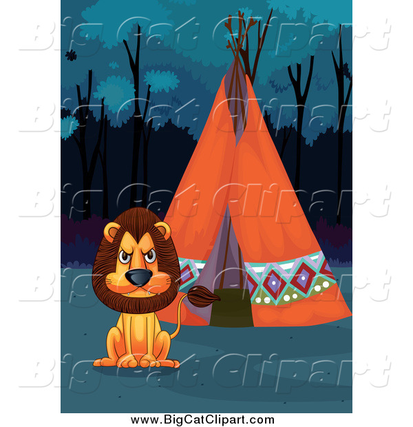 Big Cat Cartoon Vector Clipart of a Lion and a Tipi at Night