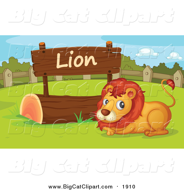 Big Cat Cartoon Vector Clipart of a Lion by a Wooden Sign