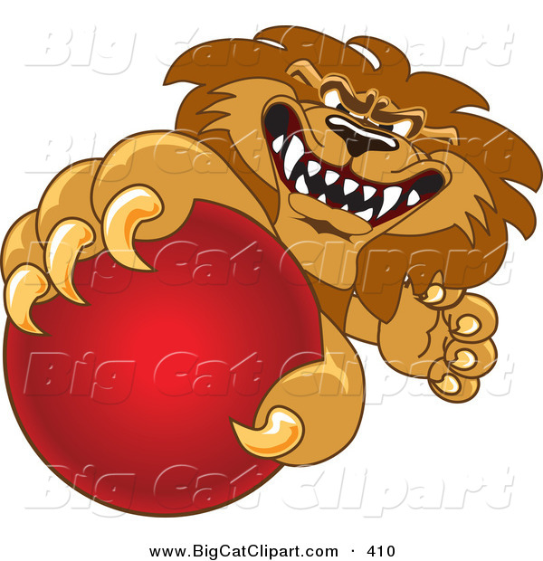 Big Cat Cartoon Vector Clipart of a Lion Character Mascot Grabbing a Red Ball on White