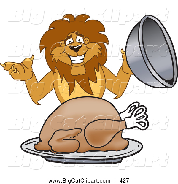 Big Cat Cartoon Vector Clipart of a Lion Character Mascot Serving a Turkey, on White