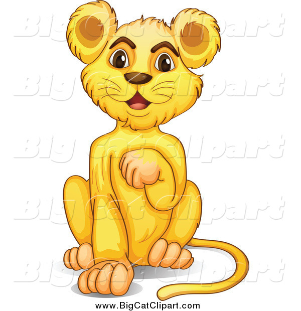 Big Cat Cartoon Vector Clipart of a Lion Cub Grooming