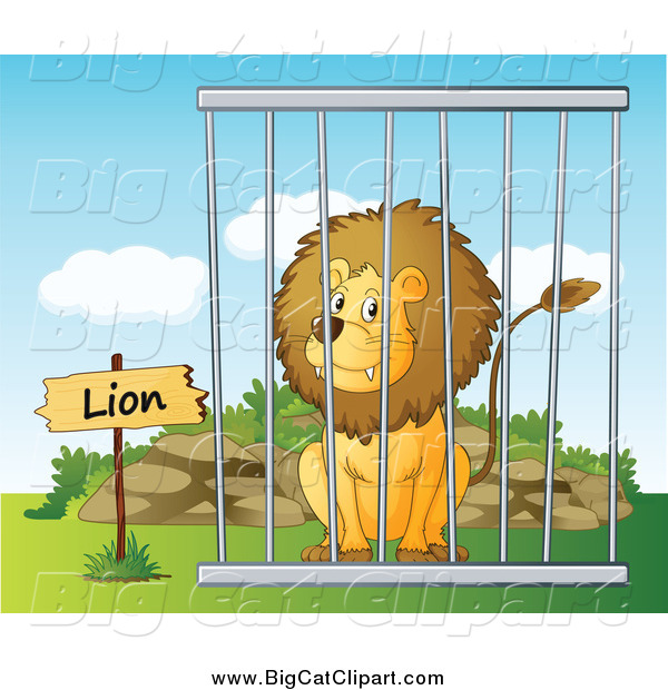 Big Cat Cartoon Vector Clipart of a Lion in a Cage