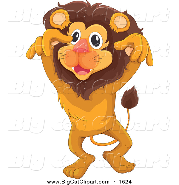 Big Cat Cartoon Vector Clipart of a Lion Leaping