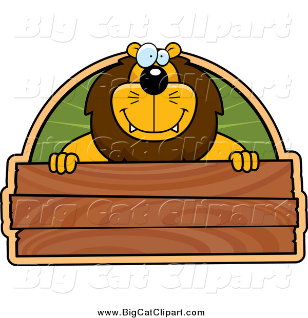 Big Cat Cartoon Vector Clipart of a Lion over a Blank Wooden Sign