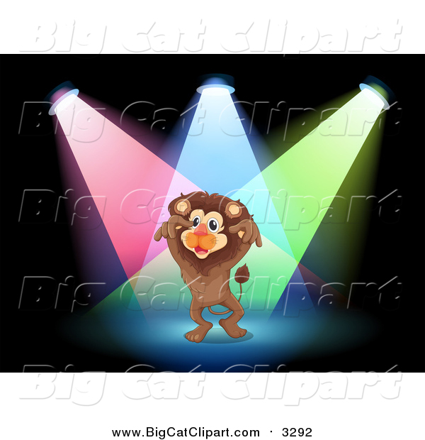 Big Cat Cartoon Vector Clipart of a Lion Performing in Spotlights on a Stage