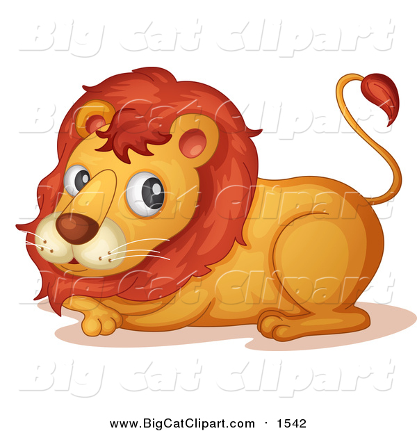 Big Cat Cartoon Vector Clipart of a Lion Resting