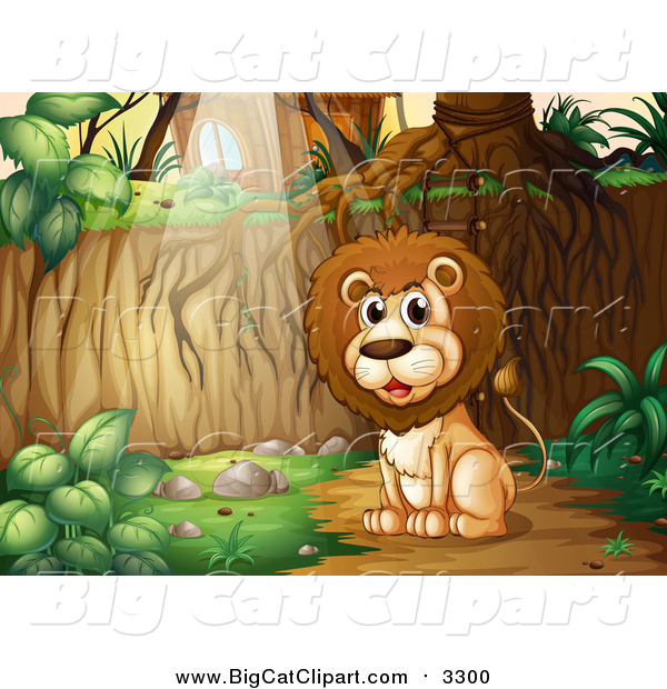 Big Cat Cartoon Vector Clipart of a Lion Sitting in the Woods near a Cabin