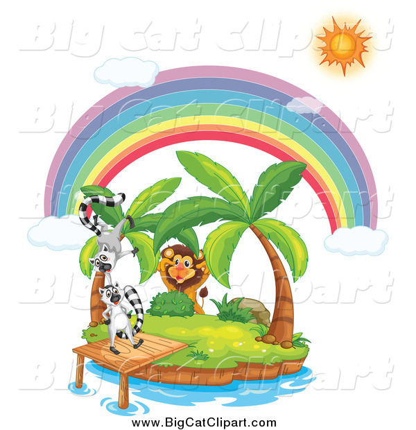 Big Cat Cartoon Vector Clipart of a Lion Stalking Lemurs on a Tropical Island Under a Sun and Rainbow