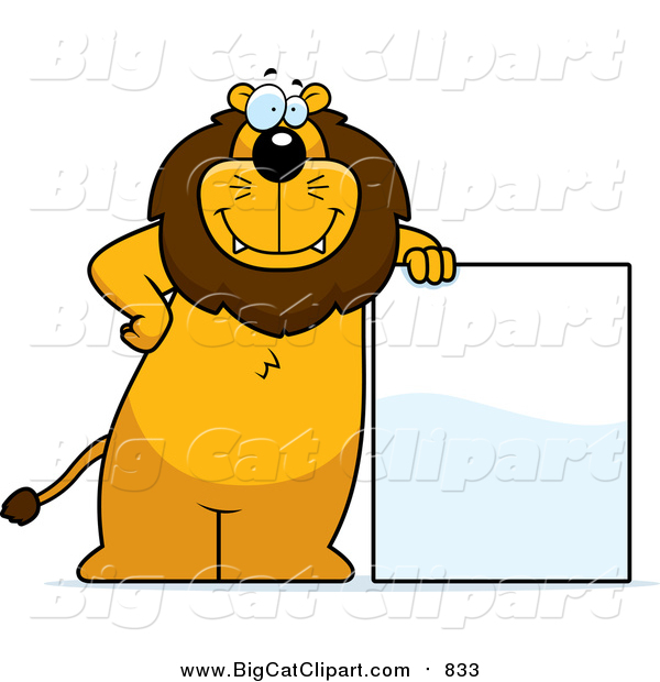 Big Cat Cartoon Vector Clipart of a Lion Standing and Leaning Against a Blank Sign Board