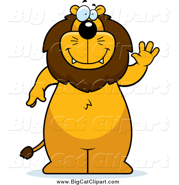 Big Cat Cartoon Vector Clipart of a Lion Standing and Waving