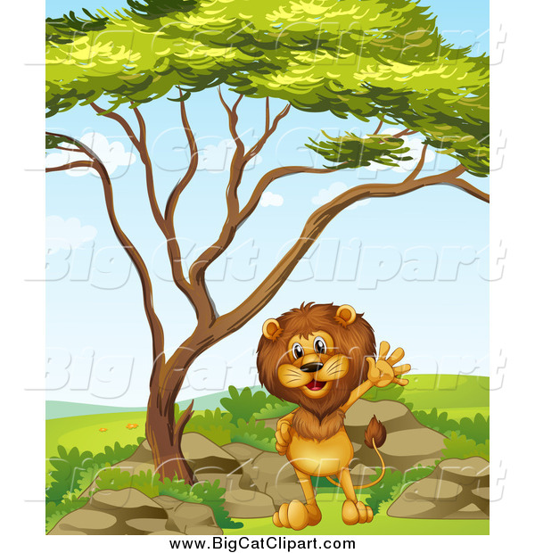 Big Cat Cartoon Vector Clipart of a Lion Waving Under a Tree on a Clear Day