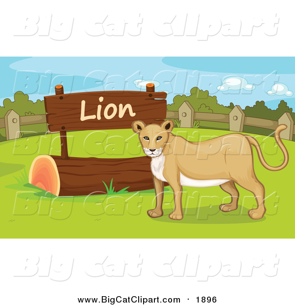 Big Cat Cartoon Vector Clipart of a Lioness by a Sign