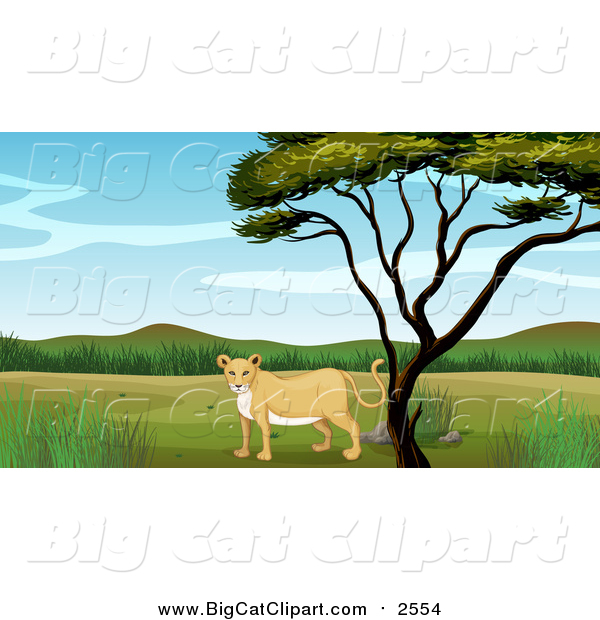 Big Cat Cartoon Vector Clipart of a Lioness Under a Tree