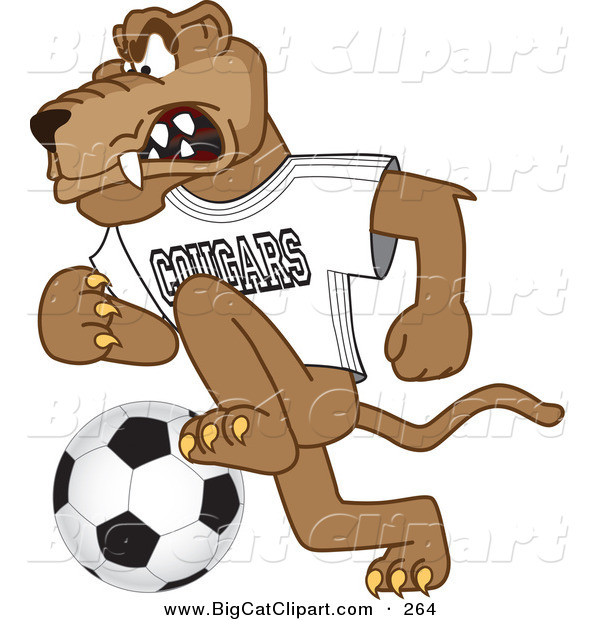 Big Cat Cartoon Vector Clipart of a Mad Cougar Mascot Character Playing Soccer