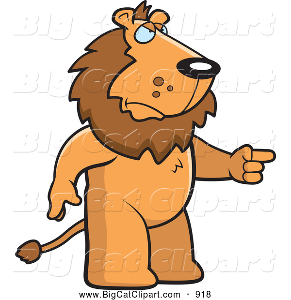 Big Cat Cartoon Vector Clipart of a Mad Lion Standing and Pointing His Finger to the Right