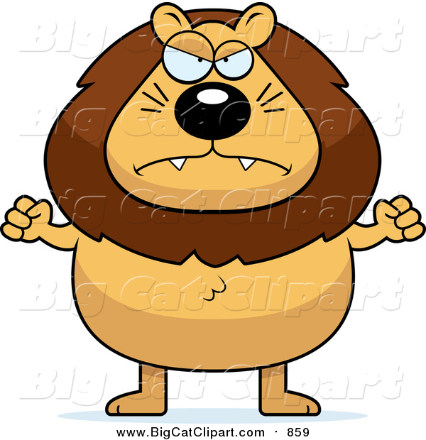 Big Cat Cartoon Vector Clipart of a Mad Male Lion Holding up Fists