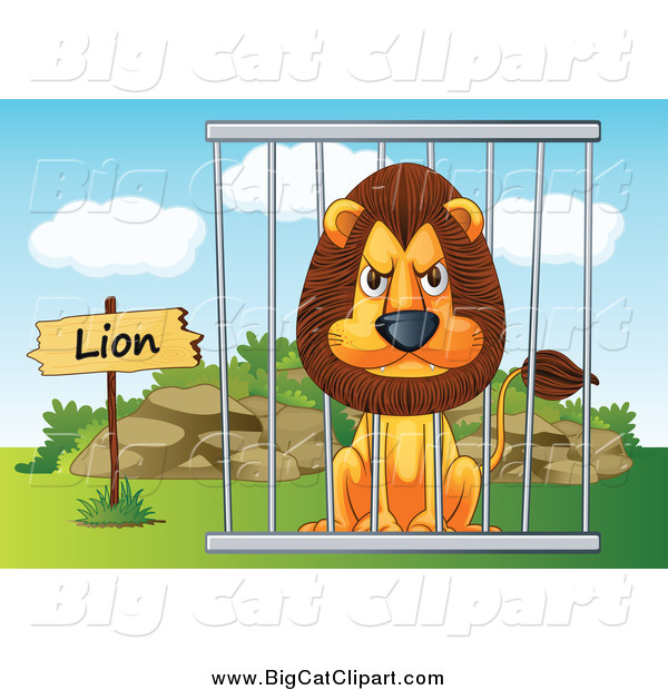 Big Cat Cartoon Vector Clipart of a Mad Zoo Lion in a Cage