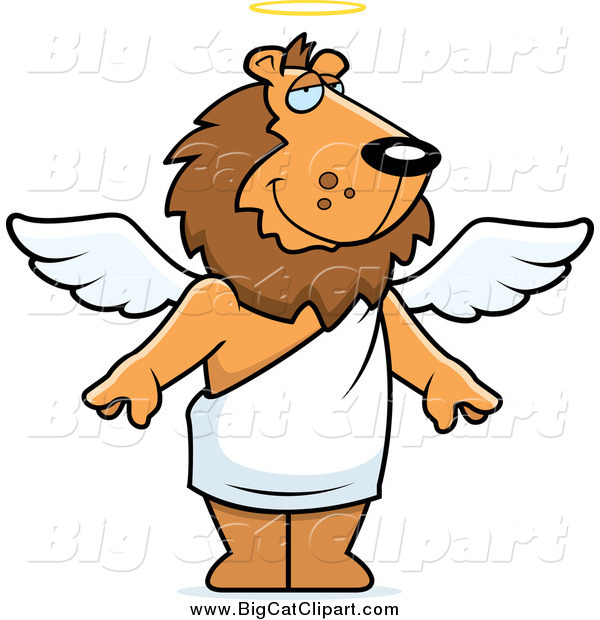 Big Cat Cartoon Vector Clipart of a Male Angel Lion with White Wings and a Halo