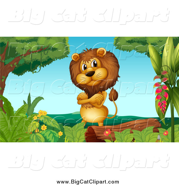 Big Cat Cartoon Vector Clipart of a Male Lion by a Log