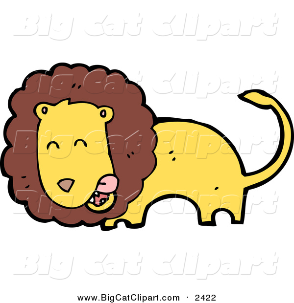 Big Cat Cartoon Vector Clipart of a Male Lion Licking His Lips