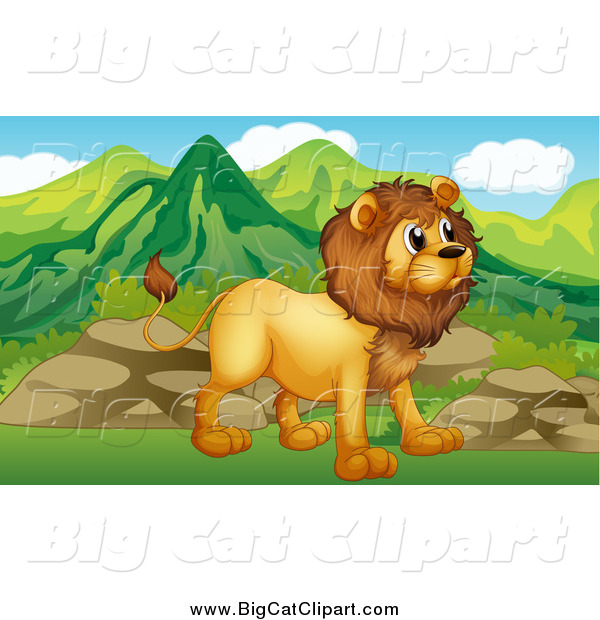Big Cat Cartoon Vector Clipart of a Male Lion near Boulders and Mountains