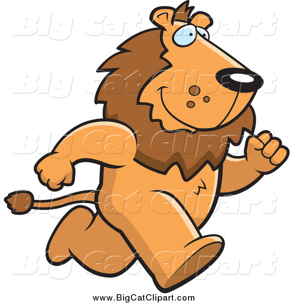 Big Cat Cartoon Vector Clipart of a Male Lion Running Upright on His Hind Legs