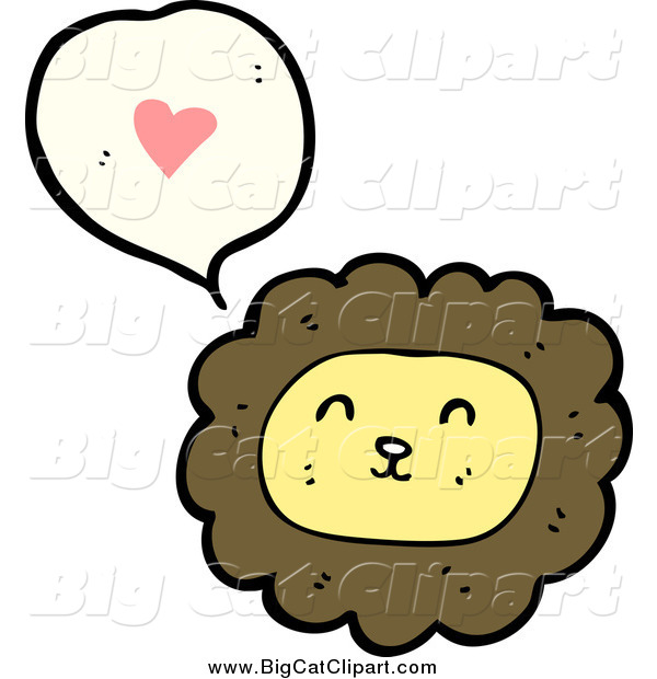 Big Cat Cartoon Vector Clipart of a Male Lion Thinking About Love