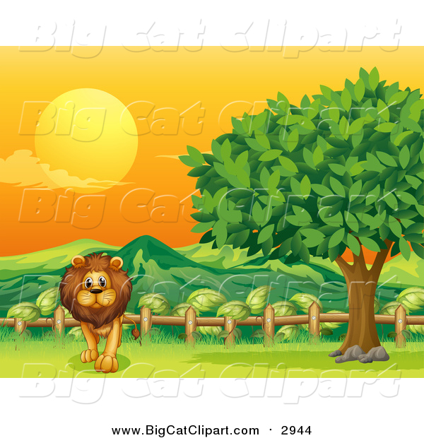 Big Cat Cartoon Vector Clipart of a Male Lion Walking by a Rail and Tree at Sunset