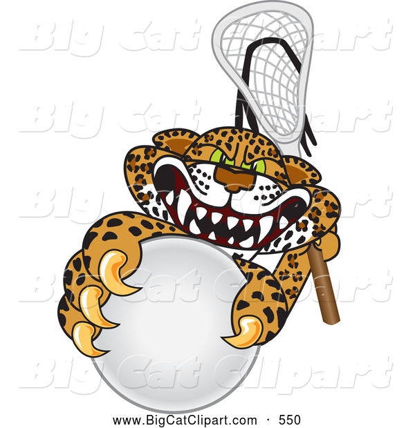 Big Cat Cartoon Vector Clipart of a Mean Looking Cheetah, Jaguar or Leopard Character School Mascot Playing Lacrosse