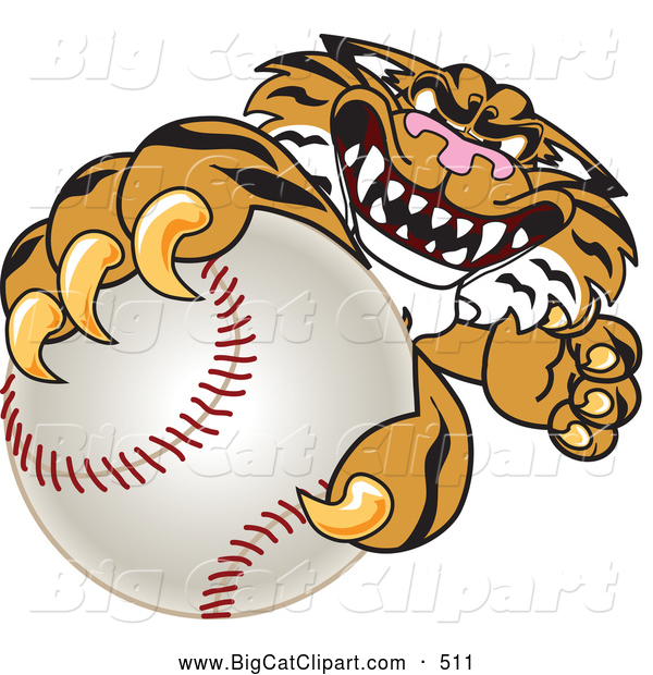 Big Cat Cartoon Vector Clipart of a Menacing Tiger Character School Mascot Grabbing a Baseball