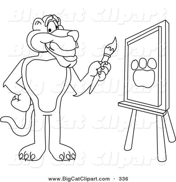 Big Cat Cartoon Vector Clipart of a Outline Design of a Panther Character Mascot Painting