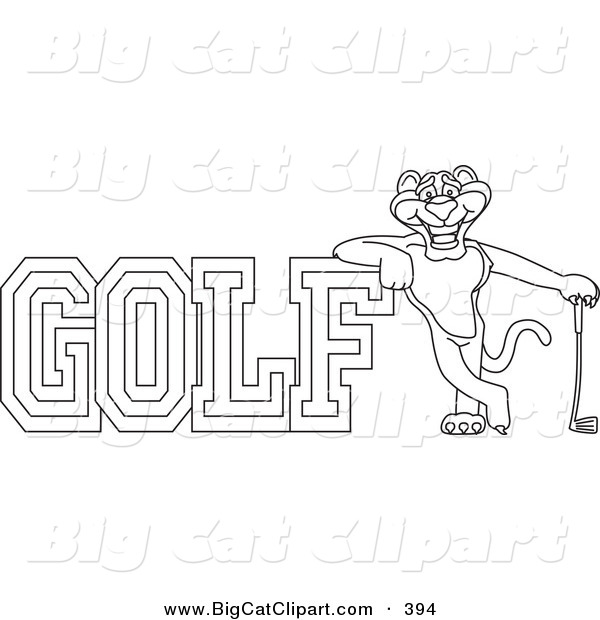 Big Cat Cartoon Vector Clipart of a Outline of a Panther Character Mascot with Golf Text