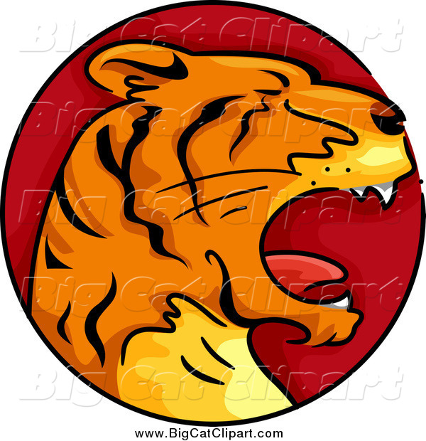 Big Cat Cartoon Vector Clipart of a Red Tiger Chinese Zodiac Circle