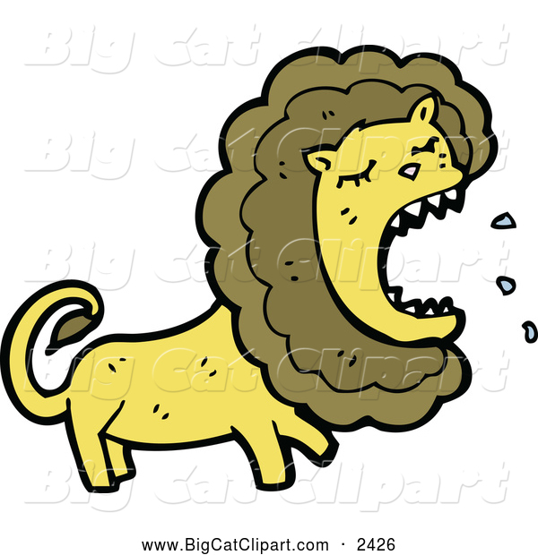 Big Cat Cartoon Vector Clipart of a Roaring Angry Male Lion