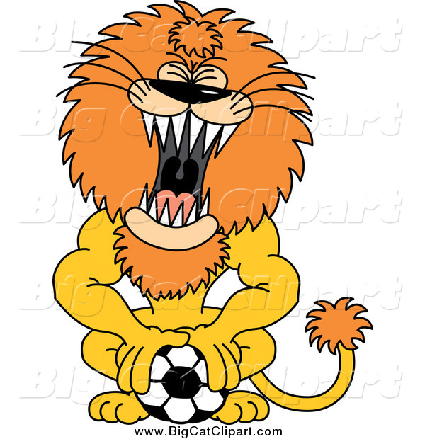 Big Cat Cartoon Vector Clipart of a Roaring Athletic Lion Pushing down on a Soccer Ball
