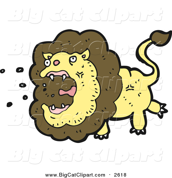 Big Cat Cartoon Vector Clipart of a Roaring Male Lion
